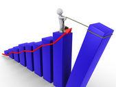 Businessman raising last bar of chart — Stock Photo