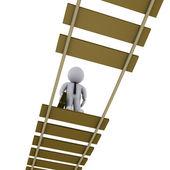 Businessman on damaged bridge looking down — Stock Photo