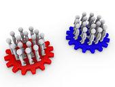 Two opposing teams on cogwheels — Stock Photo