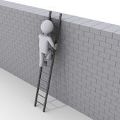 Person climbing ladder over a wall — Stock Photo