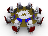 Businessmen around table searching for solution — 图库照片