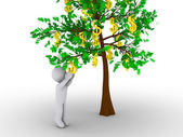 Person cutting dollar from tree of dollars — Stock Photo