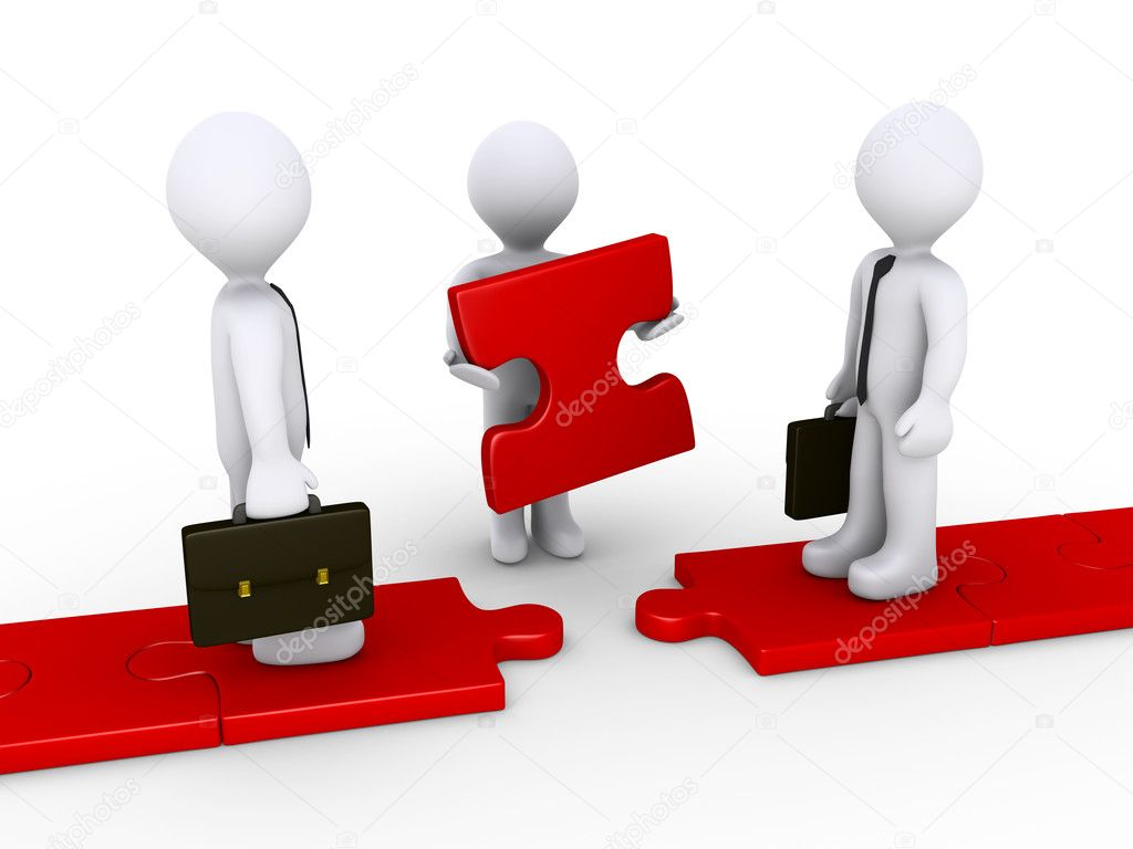 Two 3d businessmen standing on red puzzle path and another is holding the missing piece — Stock Photo #11825872
