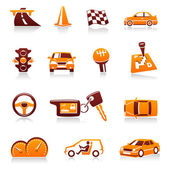 Cars and automotive vector icon set — Vecteur