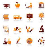 Education and school vector icon set — Stock Vector