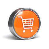 Shopping cart - 3D button — Stock Photo