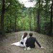 Newly married couple in the forest — Stock Photo #11723626