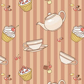 Tea party pattern — Stock Vector