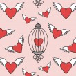 Hearts-flying — Vector de stock
