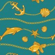 Stock Photo: Gold nautical pattern