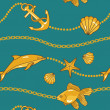 Gold nautical pattern - Stock Photo