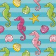 Seahorses pattern - Stock Photo