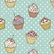 Stock Photo: Cakes pattern retro