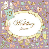Wedding-frame-on-violet — Stok fotoğraf