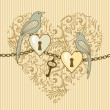 Foto de Stock  : Birds-and-heart