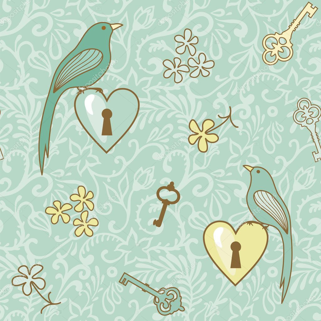 Seamless vector pattern with birds, hearts and keys — Stock Photo #12234214