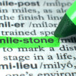 Mile Stone Highlighted In Dictionary In Green — Stock Photo