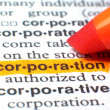 Corporation Highlighted In Dictionary In Orange — Stock Photo