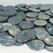 Pile Of Quarters Coins On Grey Background — Stock Photo