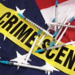 Syringes And Crime Scene Cordon Tape Over American Flag — Stock Photo