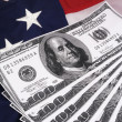 100 Dollar Bills American Flag — Stock Photo
