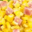 Corn with ham and cheese — Stock Photo