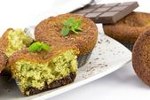 Muffins with mint and chocolate — Stock Photo