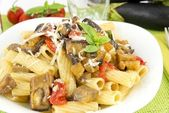 Sicilian rigatoni with eggplant, tomato and parmesan — Stock Photo