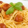 Stock Photo: Spaghetti with tomato and basil