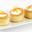 Vol au vents with cream cheese — Stock Photo