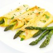 Crepes with asparagus and cream sauce - Foto Stock