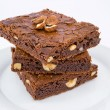 Stock Photo: Chocolate nut brownies