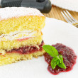 Cake with sour cherry jam — Stock Photo