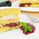 Cake with sour cherry jam — Stock Photo #11709009