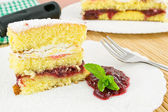 Cake with sour cherry jam — ストック写真