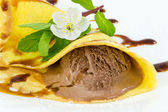 Crepes with chocolate ice cream — Stock Photo