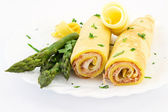 Crepes stuffed with ham and provolone sweet — Stock Photo