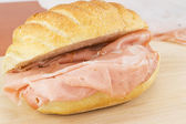Mortadella sandwich- bologna — Stock Photo