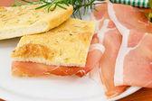 Pizza with ham — Stock Photo
