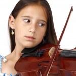 Child and violin — Stock Photo