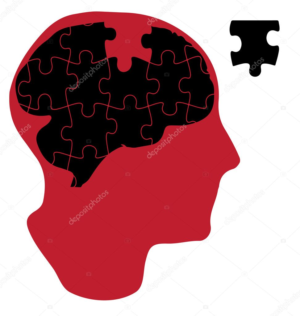 Vector illustration of man that has a brain made of jisaw puzzle — Stock Vector #11789501