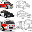 Ambulance, Police Car, Fire Engine - Stockvectorbeeld