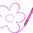 Crayon drawing a flower — Vector de stock
