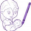 Mother with Child drawn with crayon — Stock Vector