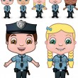 Children Police Set 1 — Stock Vector