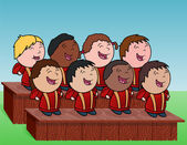 Outdoor kid's choir — Stock Vector