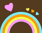 Retro Rainbow with hearts — Stock Vector
