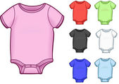 Baby Onesies, colorful versions - vector illustrations — Stock Vector
