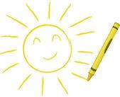 Crayon Drawn Sun — Stock Vector