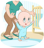 Mother teaching child to walk — Stock Vector